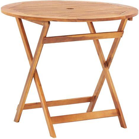Petite table d/'appoint d/'extérieur pliable en bois résistant