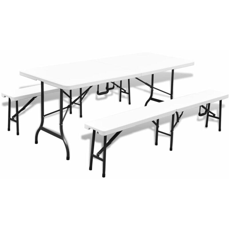Jardin Acier Table Blanc 2 Bancs Cm Et De Avec Pehd Pliable 180 VUzpSM