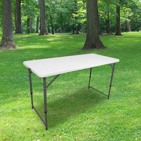 """main image of """"Table Pliante 120 cm d'Appoint Rectangulaire Blanche - Table de Camping 6 personnes L120 x l60 x H74cm en HDPE Haute Densité Épaisseur 3,5 cm - Nouveau Modèle 2021 Emballage Renforcé - Blanc"""""""
