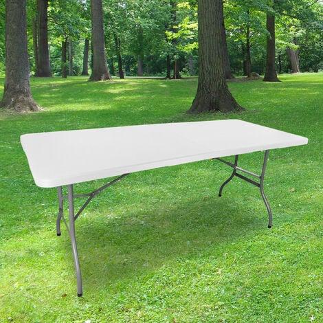 Table Pliante 180 cm d'Appoint Rectangulaire Blanche - Table de Camping 8 personnes L180 x l74 x H74cm en HDPE Haute Densité Épaisseur 3,5 cm - Pieds en Acier Pelliculé Gris - Idéal Cérémonies