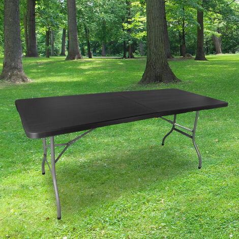 """main image of """"Table Pliante 180 cm d'Appoint Rectangulaire Noire - Table de Camping 8 personnes L180 x l74 x H74cm en HDPE Haute Densité Épaisseur 3,5 cm - Pieds en Acier Pelliculé Gris - Idéal Cérémonies"""""""