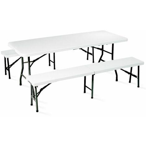 """main image of """"Table pliante 180 cm et 2 bancs pliables"""""""