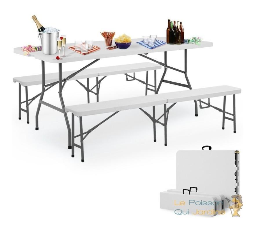Table Pliante 2 Bancs Pliants Avec Une Poignée De Transport 180
