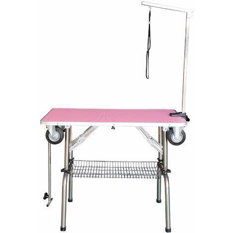 Table pliante à potence simple avec roulettes rose