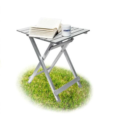 """main image of """"Table pliante aluminium Table d'appoint jardin camping HxlxP 61 x 49,5 x 47,5 cm jardin balcon terrasse camping vacances, gris argenté"""""""