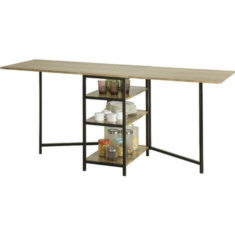 Table Pliante avec 2 Abattants et 3 étagères de Rangement,SoBuy FWT62-N