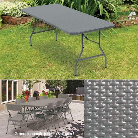 Table pliante d\'appoint effet résine tressée grise 180 cm ...