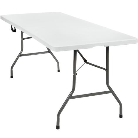 Table Pliante de Camping en Acier et en Plastique avec sangle de transport 183 cm x 76 cm x 74 cm Blanc