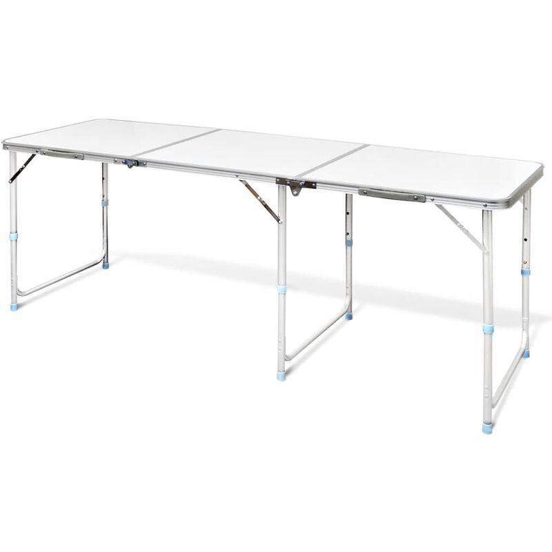 Table Pliable de Camping Hauteur Réglable Aluminium 180x60 cm