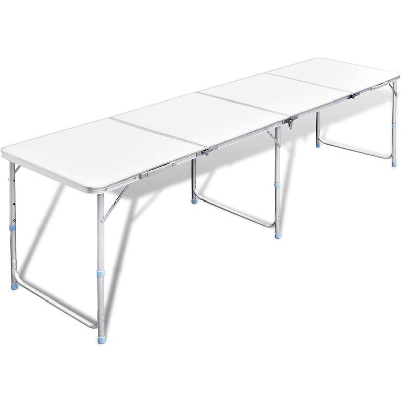 Table Pliable de Camping Hauteur Réglable Aluminium 240x60 cm