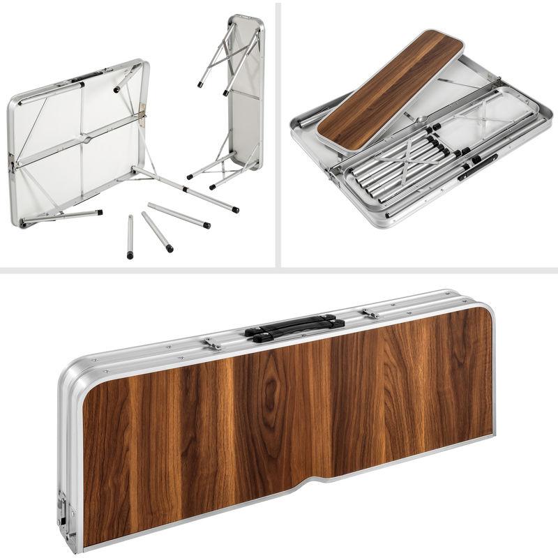 Table Pliante de Camping Valise 91 cm x 67,5 cm x 70,5 cm + 2 Bancs en  Aluminium Marron