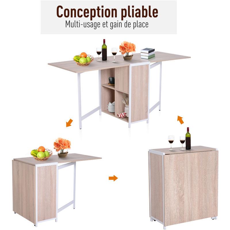Table Pliante De Cuisine Salle à Manger 4 Niches Intégrées Dim Dépliées 170l X 63l X 75h Cm Mdf Chêne Clair Acier Blanc
