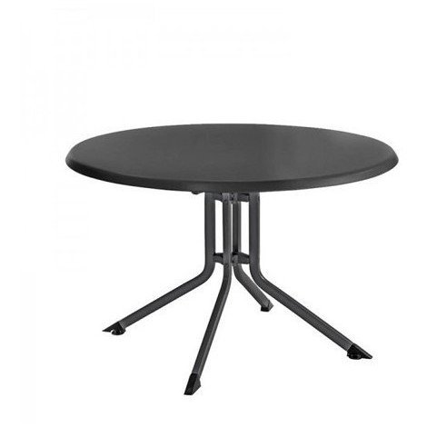 Table pliante de jardin ADVANTAGE ronde aluminium - Couleur:  Anthracite/Anthracite - Dimensions table: Ø 115 x H 74 cm
