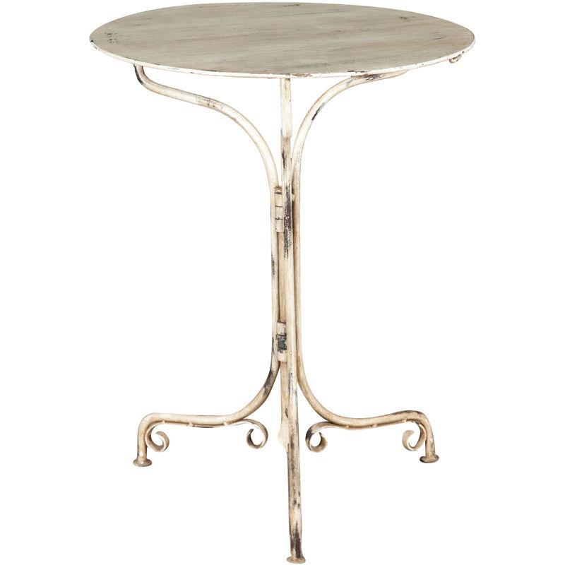 Table Pliante En Finition Blanc Antique En Fer Forgé