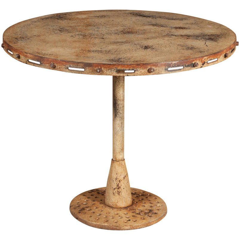 Table Pliante En Finition Crème Antique En Fer Forgé