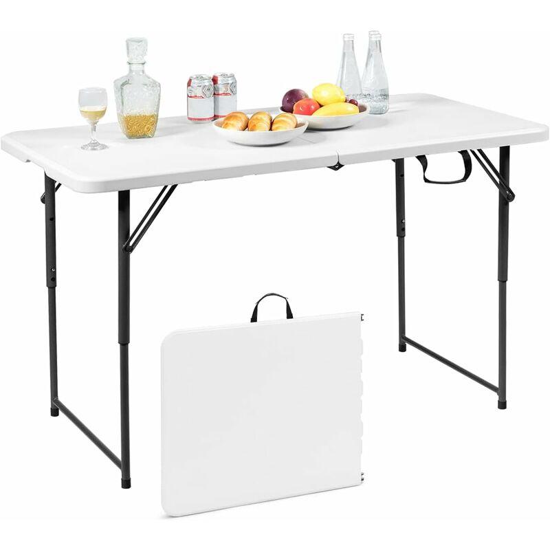 Table Pliante En Plastique Pour Camping Jardin Cuisine Matériaux Hdpe 122 X 61 X 72 Cm Blanc