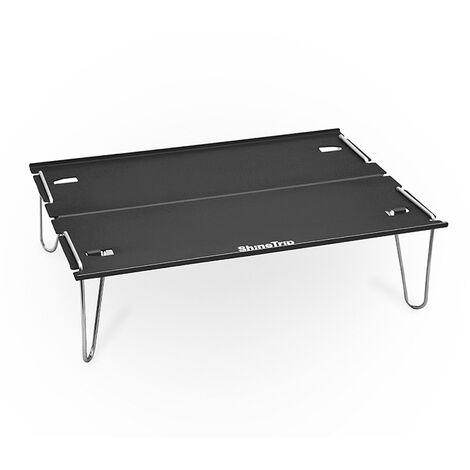 Table pliante exterieure de camping en alliage d'aluminium Mini table de camping portable de table, noir