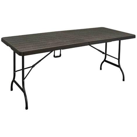Table pliante imitation bois Marron 180 cm