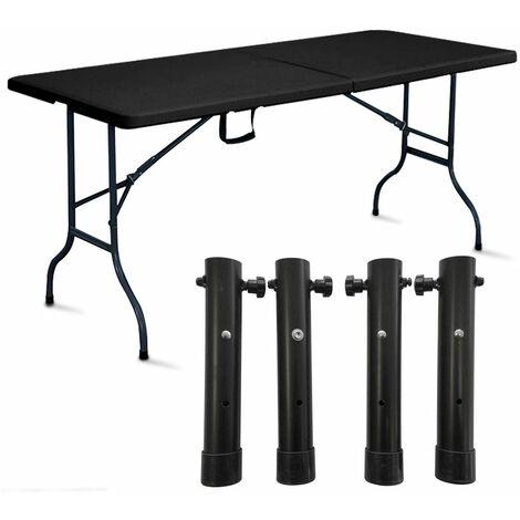 Table pliante noire avec 4 réhausses - 103832