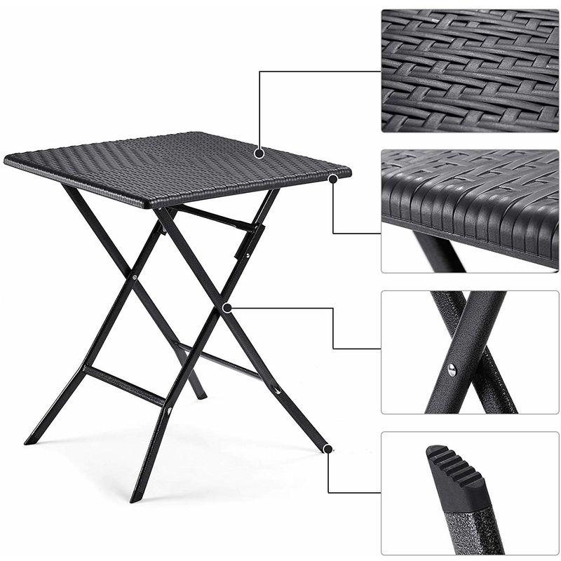 Table Pliante, petiteTable de Jardin avec Surface en Plastique à Effet  Rotin, Imperméable, Pieds Robustes en Fer en Forme de Sabot, Loquet ...
