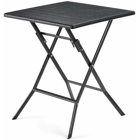 Table Pliante, petiteTable de Jardin, Imperméable, Pieds Robustes en Fer en Forme de Sabot, Loquet sécuritaire, 62 x 62 x 73cm, Noir