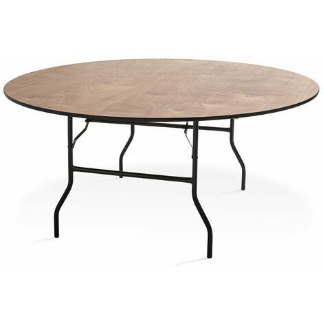 Table pliante ronde en bois 10 places 170cm buffet traiteur - 170cm x 76cm