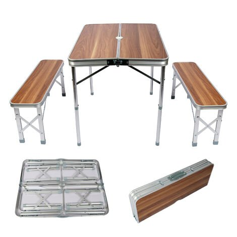 Table pliante Valise Alumium Deux bancs 90x66x70 cm Finition bois Table de camping Fête Barbecue