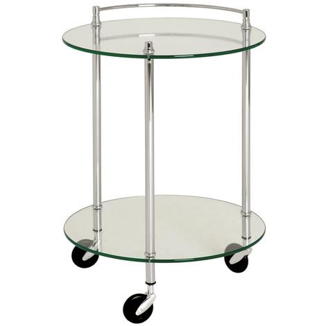 Table pour desserte en tube d'acier Coloris Chromé, Dim : Hauteur 63 cm