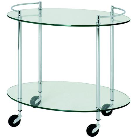 Table pour desserte en tube d'acier Coloris Chromé, Dim : L68 x P46 x H63 cm