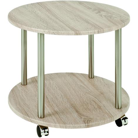 Table pour desserte en tube d'acier Coloris Optique inox-chêne, Dim : Hauteur 45 cm
