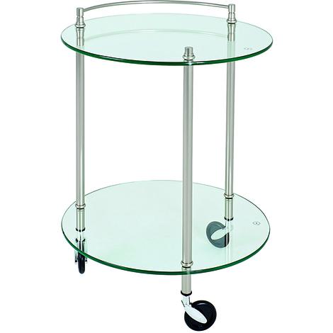 Table pour desserte en tube d'acier Coloris Optique inox, Dim : Hauteur 63 cm