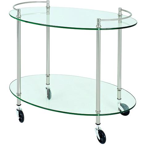 Table pour desserte en tube d'acier Coloris Optique inox, Dim : L68 x P46 x H63 cm