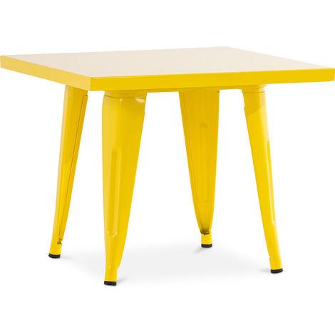 Table pour enfant de style Tolix - 60 cm - Métal Jaune