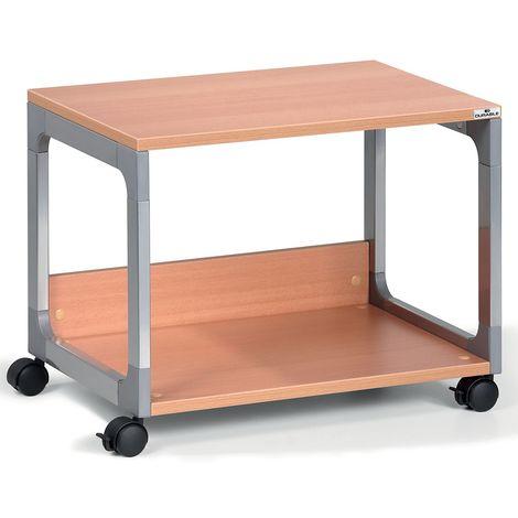 Table pour imprimante et de rangement passe-partout de Durable - 2 tablettes - argent / hêtre