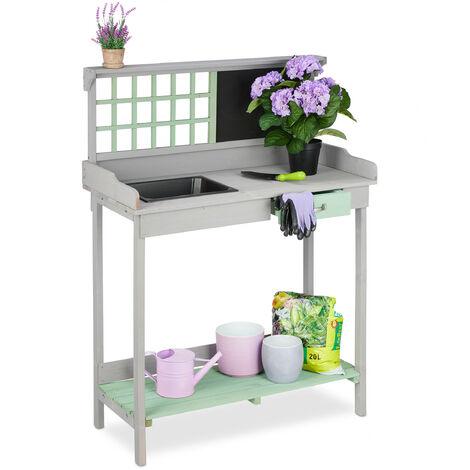 Table pour plantes avec bac, 2 niveaux, travail de jardin,tiroir, en bois, HlP 121 x 92 x 42,5 cm, gris-vert