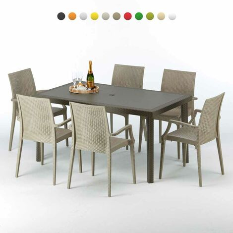 "main image of ""Table rectangulaire 6 chaises Poly rotin resine 150x90 marron Focus"""