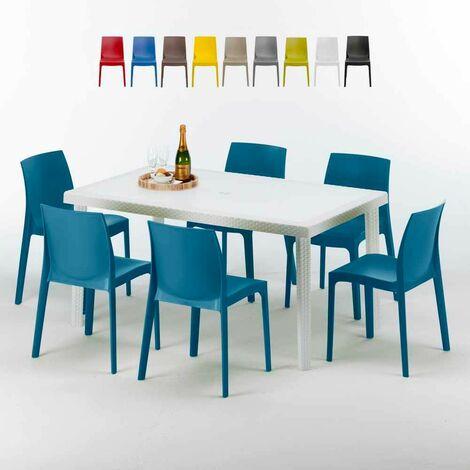 Table Rectangulaire Blanche 150x90cm Avec 6 Chaises Colorées Grand Soleil Set Extérieur Bar Café ROME SUMMERLIFE