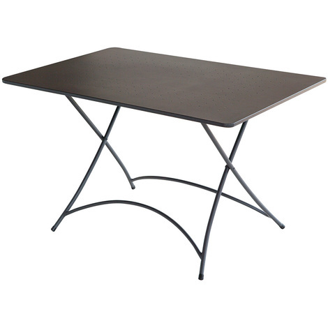 Table rectangulaire de jardin en fer forgé coloris gris anthracite - Dim : H 72 x L 120 x P 80 cm