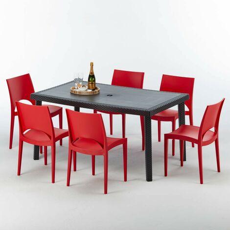 Table rectangulaire et 6 chaises Poly rotin colorées 150x90 noir