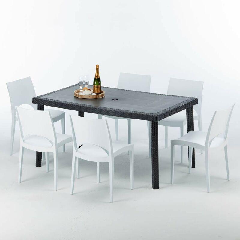 Table rectangulaire et 6 chaises Poly rotin colorées 150x90cm noir Enjoy | Paris Blanc