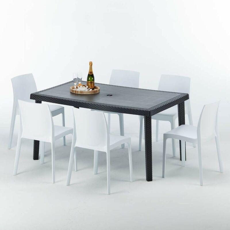 Table rectangulaire et 6 chaises Poly rotin colorées 150x90cm noir Enjoy | Rome Blanc