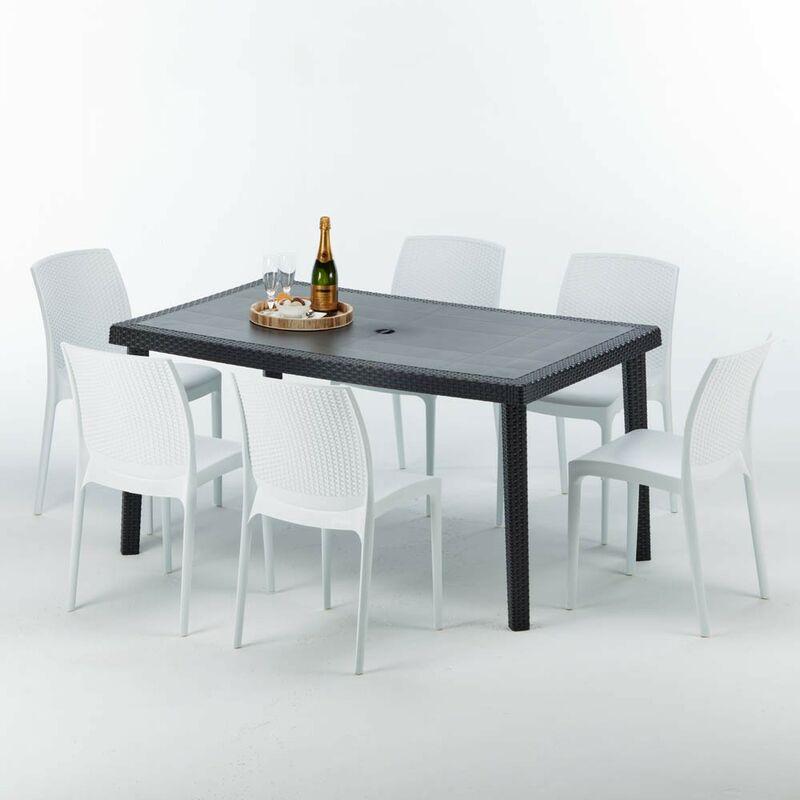 Table rectangulaire et 6 chaises Poly rotin colorées 150x90cm noir Enjoy | Boheme Blanc