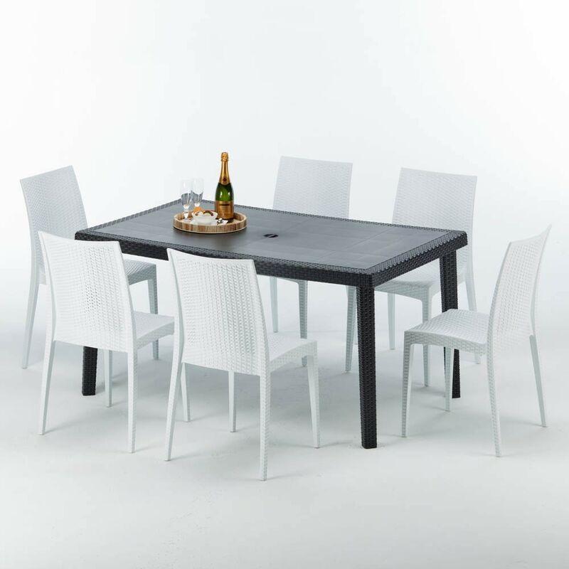 Table rectangulaire et 6 chaises Poly rotin colorées 150x90cm noir Enjoy | Bistrot Blanc