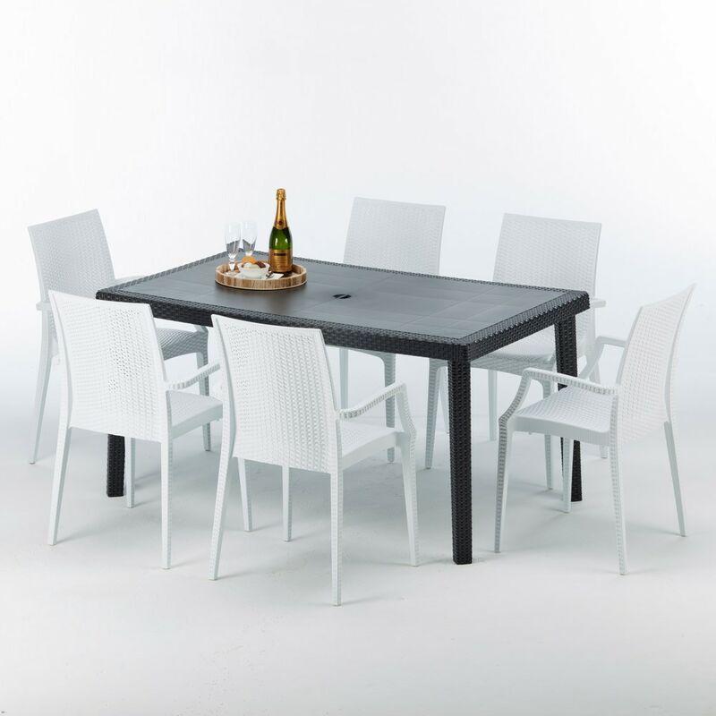 Table rectangulaire et 6 chaises Poly rotin colorées 150x90cm noir Enjoy | Bistrot Arm Blanc