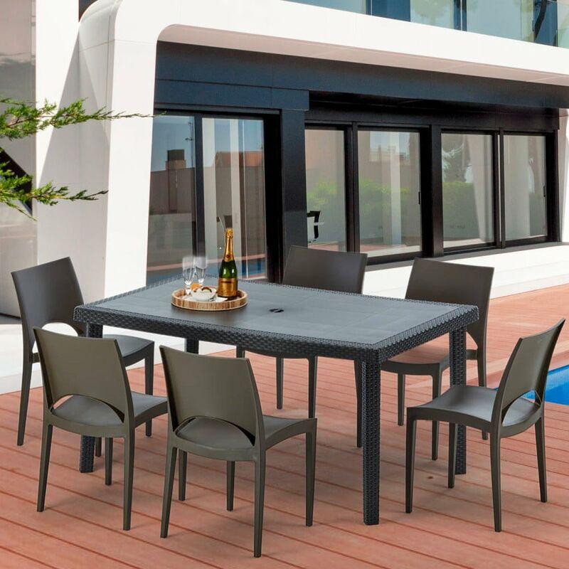 Table rectangulaire et 6 chaises Poly rotin colorées 150x90cm noir ENJOY