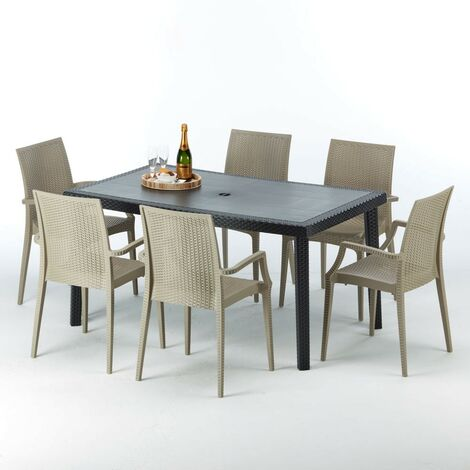 Table rectangulaire et 6 chaises Poly rotin colorées 150x90cm noir ENJOY