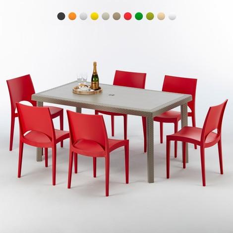 Table Rectangulaire Et 6 Chaises Poly Rotin Resine Ensemble Bar Cafe Exterieur 150x90 Beige