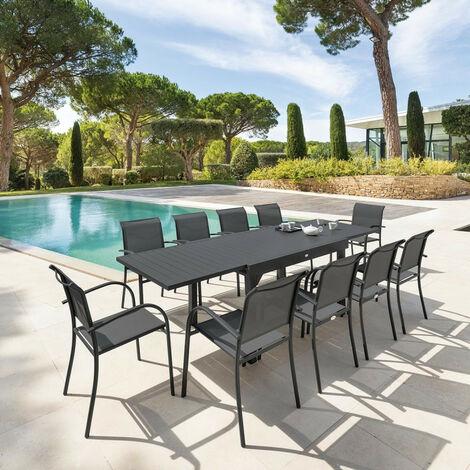 Table rectangulaire extensible Piazza 10 personnes graphite Hespéride - Avec rallonge