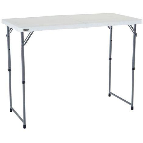 TABLE RECTANGULAIRE PLIANTE EN 2 - LIFETIME 122 x 61 cm / Hauteur ajustable / 4 personnes