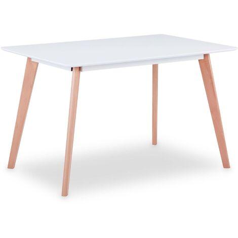 Table rectangulaire scandinave Sabina Blanc - Blanc